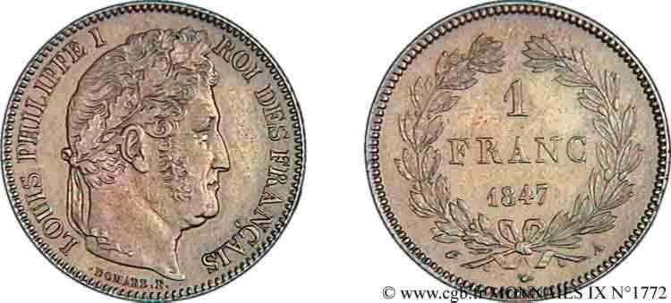 N° v09_1772 1 franc Louis-Philippe couronne de chêne - 1847