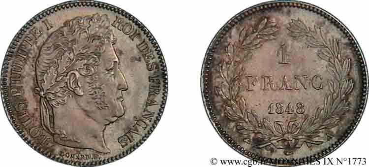 N° v09_1773 1 franc Louis-Philippe couronne de chêne - 1848