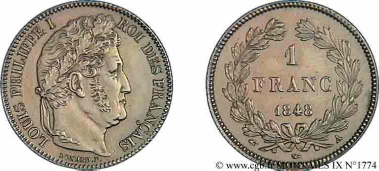 N° v09_1774 1 franc Louis-Philippe couronne de chêne - 1848