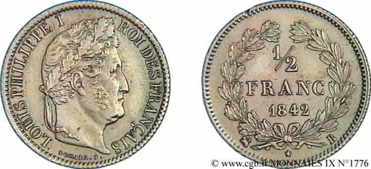 N° v09_1776 Demi-franc Louis-Philippe - 1842