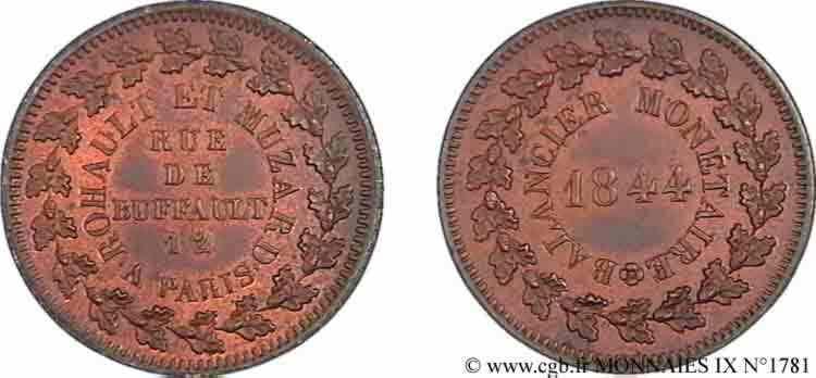N° v09_1781 Essai, balancier monétaire, module 28 mm - 1844