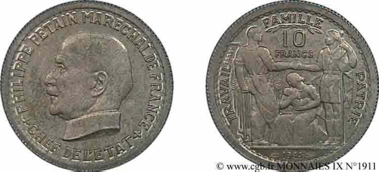 N° v09_1911 Essai grand module de 10 francs Pétain de Bazor et Vézien - 1943
