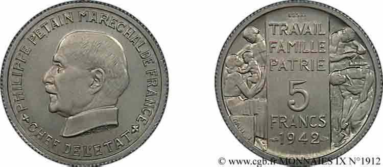 N° v09_1912 Essai grand module de 5 francs Pétain de Bazor et Galle - 1942