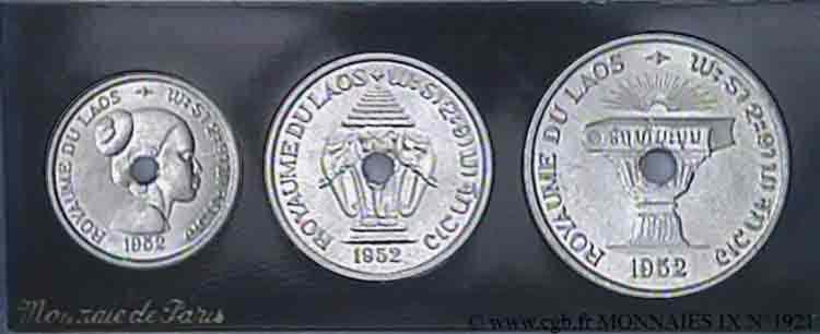 N° v09_1921 Lot de 3 essais pour le Laos en aluminium - 1952