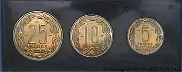 N° v09_1926 Lot de 3 essais pour le Cameroun en bronze aluminium - 1958