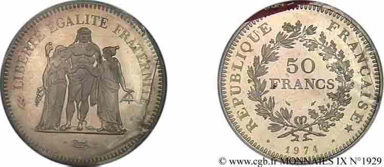 N° v09_1929 Piéfort de 50 francs Hercule en argent  - 1974