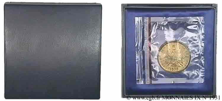 N° v09_1931 Piéfort de 5 francs Semeuse en or  - 1975