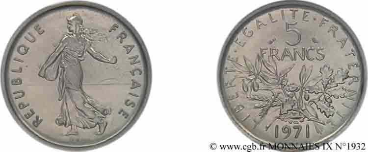 N° v09_1932 Piéfort de 5 francs Semeuse en nickel  - 1971