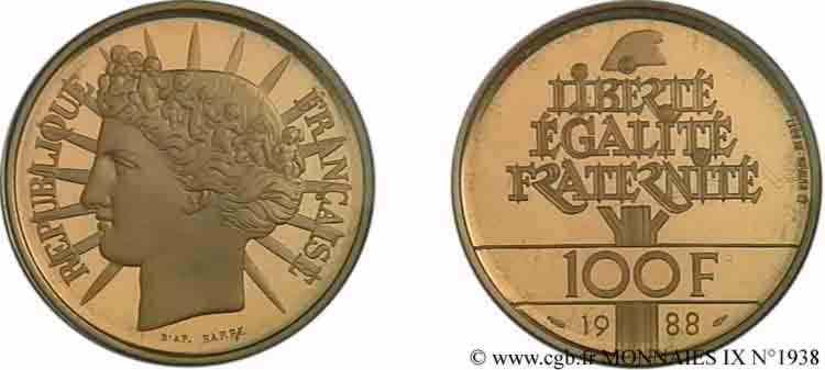 N° v09_1938 100 francs or Fraternité - 1988