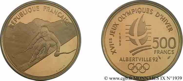 N° v09_1939 500 francs or Jeux Olympiques d'hiver d'Albertville, ski alpin/Mont-Blanc - 1989/92
