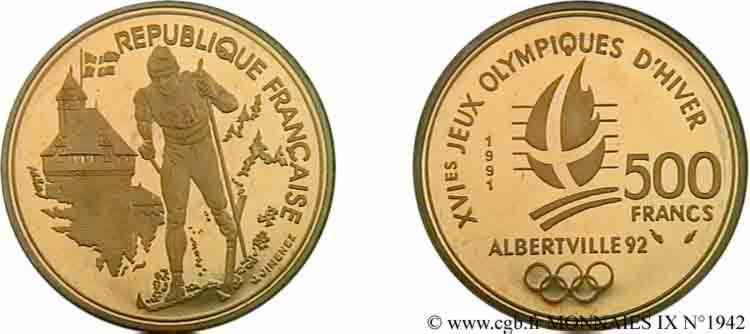 N° v09_1942 500 francs or Jeux Olympiques d'hiver d'Albertville, ski de fond/Château des ducs de Savoie (Chambéry) - 1990/92