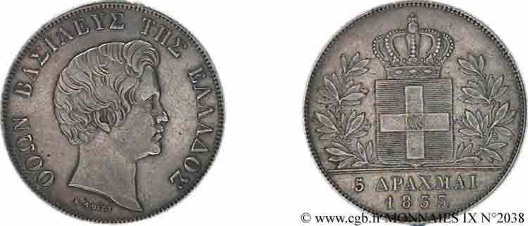N° v09_2038 5 drachmes - 1833