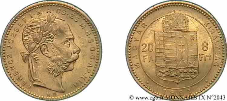 N° v09_2043 20 francs or ou 8 forint, 2e type - 1881