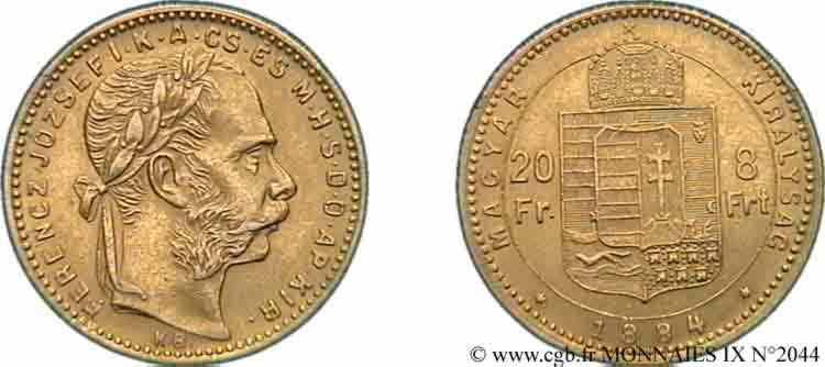 N° v09_2044 20 francs or ou 8 forint, 2e type - 1884