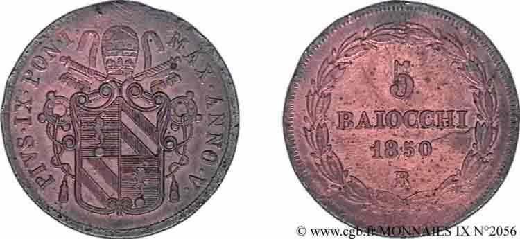N° v09_2056 5 Baiocchi ou grosso - 1850