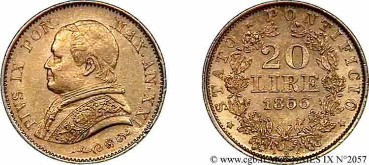 N° v09_2057 20 lires, petit buste - 1866
