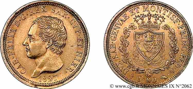N° v09_2062 80 lires or - 1827