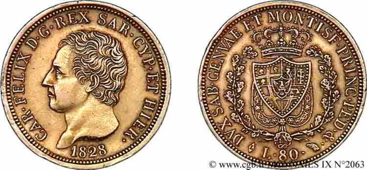 N° v09_2063 80 lires or - 1828