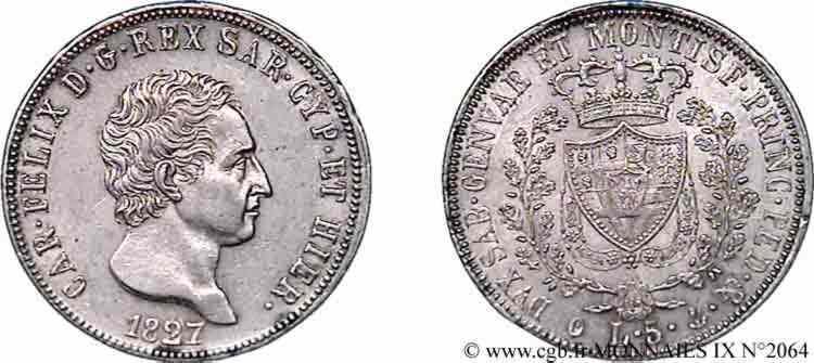 N° v09_2064 5 lires - 1827