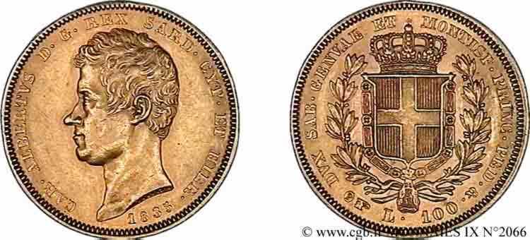 N° v09_2066 100 lires or - 1835