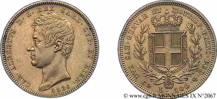 N° v09_2067 100 lires or - 1835