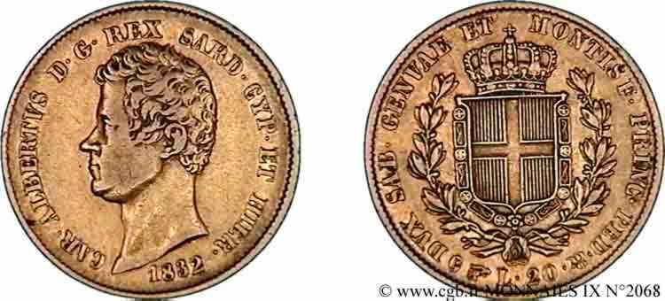 N° v09_2068 20 lires or - 1832
