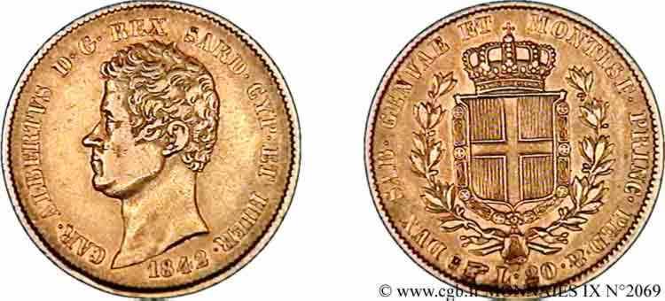 N° v09_2069 20 lires or - 1842