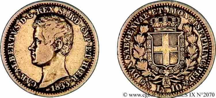 N° v09_2070 10 lires or - 1833