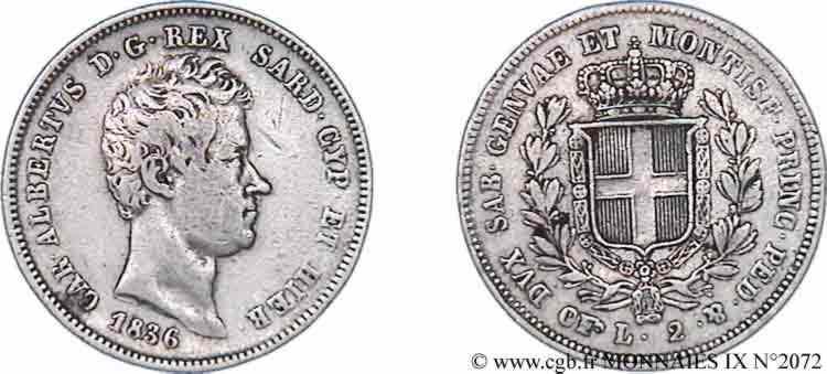 N° v09_2072 2 lires - 1836