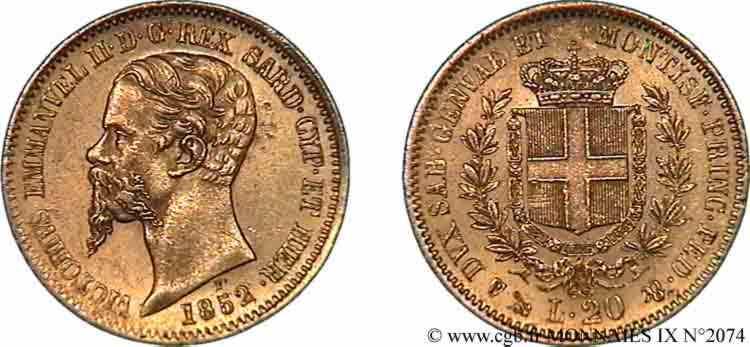 N° v09_2074 20 lires or - 1852