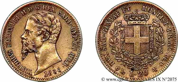 N° v09_2075 20 lires or - 1856
