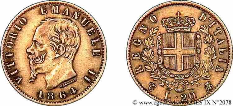 N° v09_2078 20 lires or - 1864