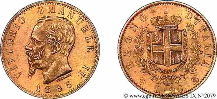 N° v09_2079 20 lires or - 1865