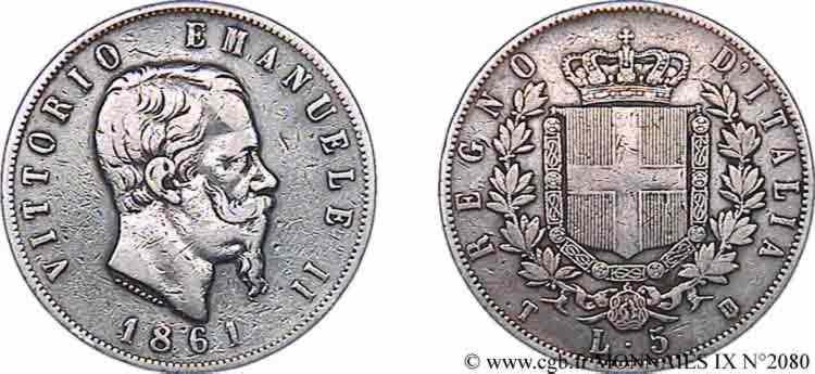N° v09_2080 5 lires - 1861
