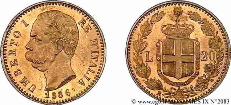N° v09_2083 20 lires or - 1886