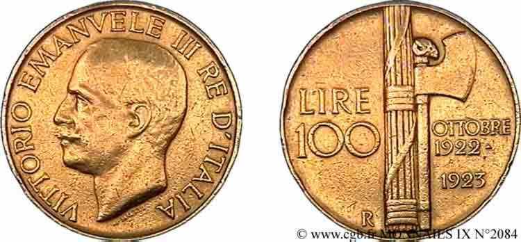 N° v09_2084 100 lires or - 1923