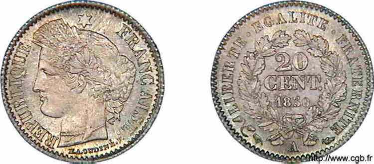 N° v10_0001 20 centimes Cérès - 1850