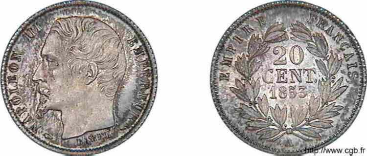 N° v10_0002 20 centimes Napoléon III , grosse tête, couronne de laurier. Frappe d'épreuve - 1853