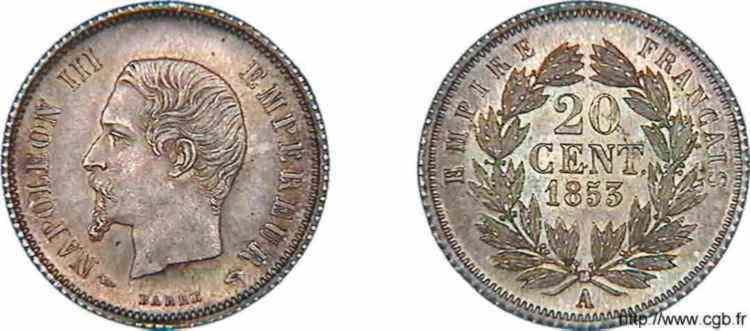 N° v10_0004 20 centimes Napoléon III, tête nue, type adopté - 1853