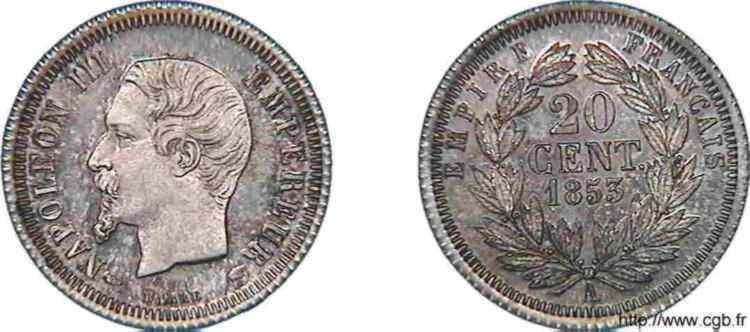 N° v10_0005 20 centimes Napoléon III, tête nue, listel large, Frappe d'épreuve - 1853