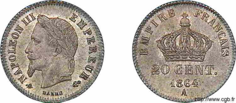 N° v10_0006 20 centimes Napoléon III tête laurée, petit module - 1864