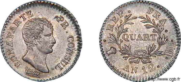 N° v10_0008 Quart de franc Bonaparte premier Consul - An 12