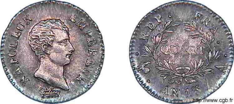 N° v10_0009 Quart de franc Napoléon Empereur calendrier révolutionnaire - An 13