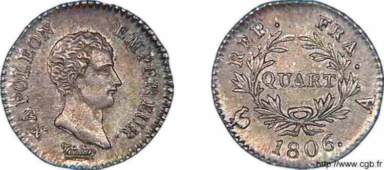 N° v10_0010 Quart de franc Napoléon Empereur calendrier grégorien - 1806
