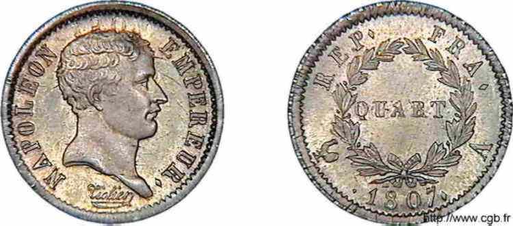 N° v10_0011 Quart de franc Napoléon Ier Tête de nègre - 1807