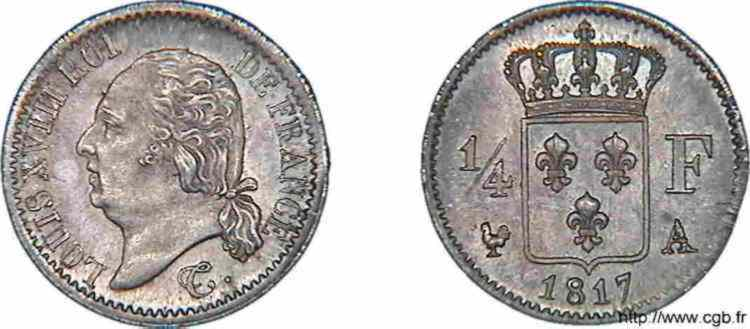 N° v10_0013 1/4 franc Louis XVIII - 1817