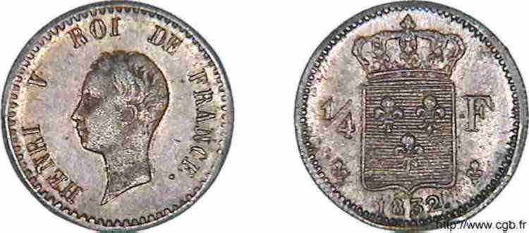 N° v10_0015 1/4 franc Henri V PRÉTENDANT - 1832
