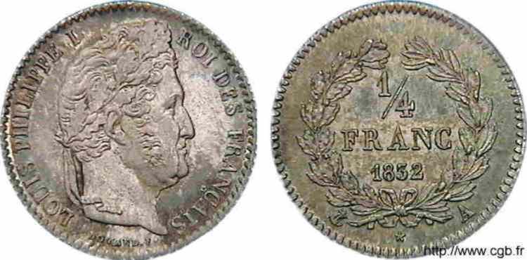 N° v10_0016 1/4 franc Louis-Philippe, Frappe d'épreuve - 1832