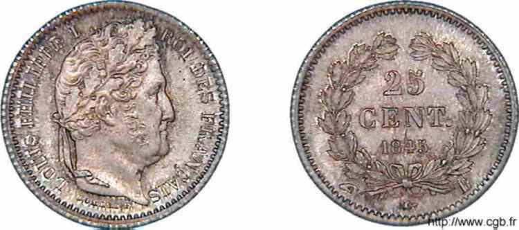 N° v10_0018 25 centimes Louis-Philippe - 1845