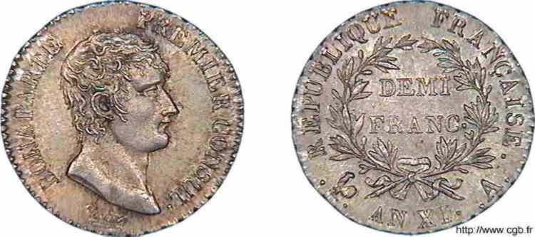 N° v10_0019 Demi-franc Bonaparte premier Consul - An XI